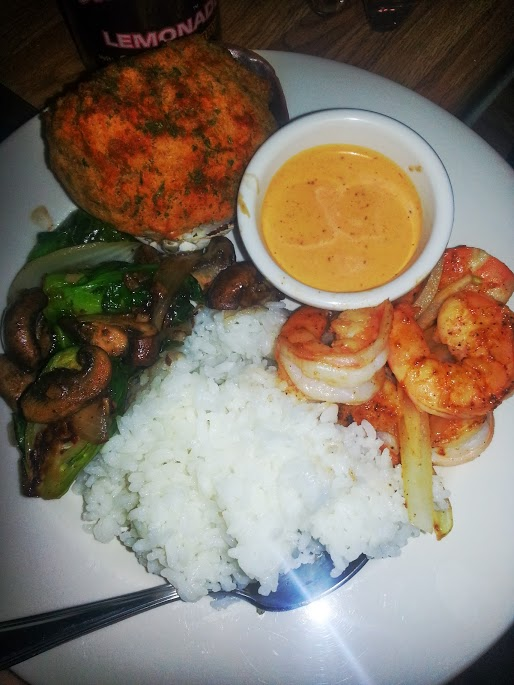 Sauteed shrimp, baked stuffed clam, brussel sprouts and mushroom for post Valentine's Dinner.